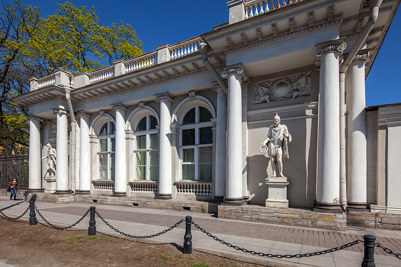 Park pavilion next to Anichkov Palace in St Petersburg, Russia