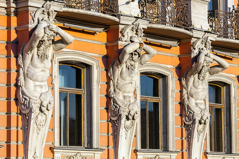 Atlantes on the Beloselskiy-Belozerskiy Palace in St Petersburg, Russia
