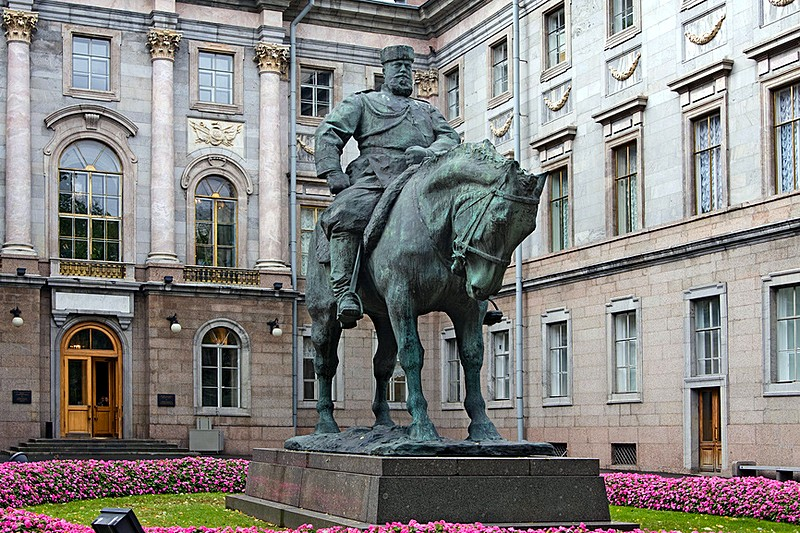 Monument to Alexander III in front of the Marble Palace in Saint Petersburg, Russia