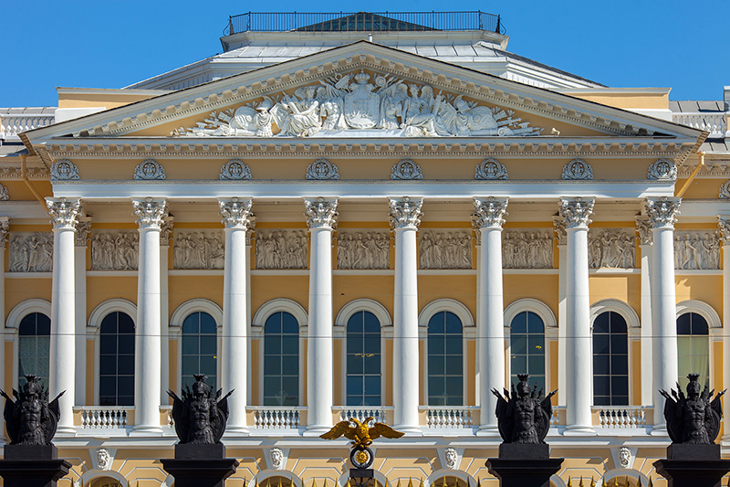 Neoclassical portico of Mikhailovsky Palace designed by Carlo Rossi in St Petersburg, Russia