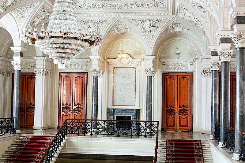 Main staircase at Nikolaevskiy Palace in Saint-Petersburg, Russia