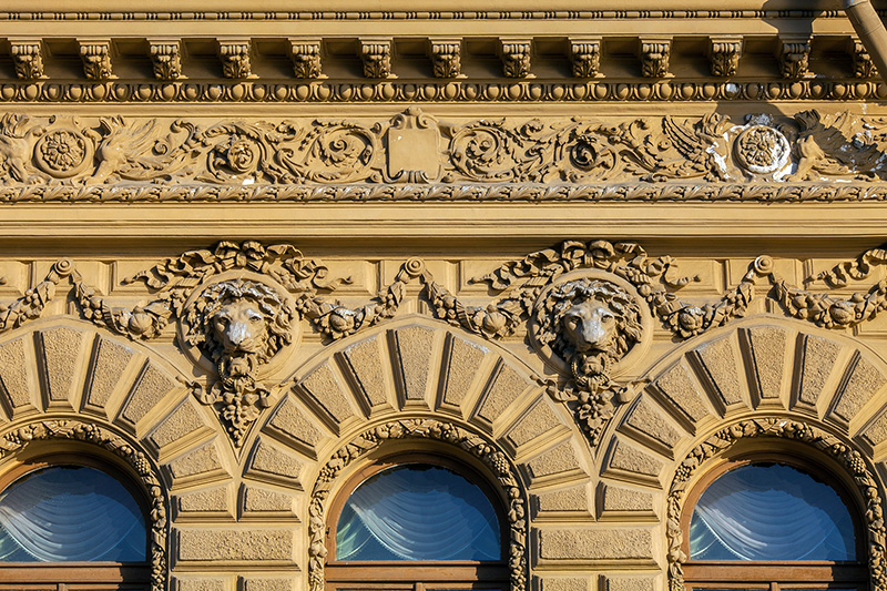 Florentine-style facade of the Derviz Mansion (Wedding Palace) on the English Embankment in St Petersburg, Russia