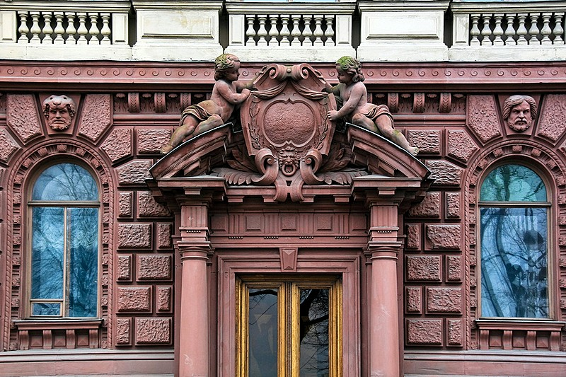 Entrance to Malo-Mikhailovskiy Palace in St Petersburg, Russia