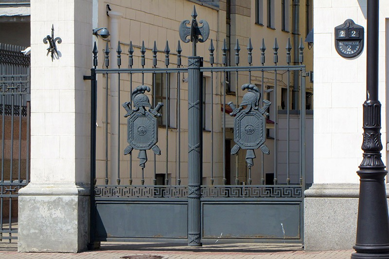 Wrought-iron gates of the Palace of Grand Duke Nikolay Nikolaevich in St Petersburg, Russia