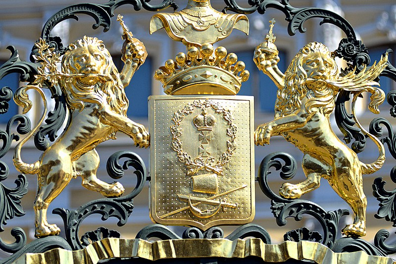 Coat of arms of the Counts Sheremetev on the gate of the Sheremetev palace in St Petersburg, Russia