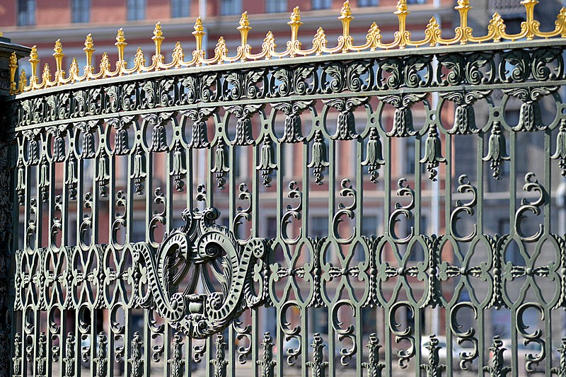 Wrought-iron fence of the Sheremetev Palace in St Petersburg, Russia
