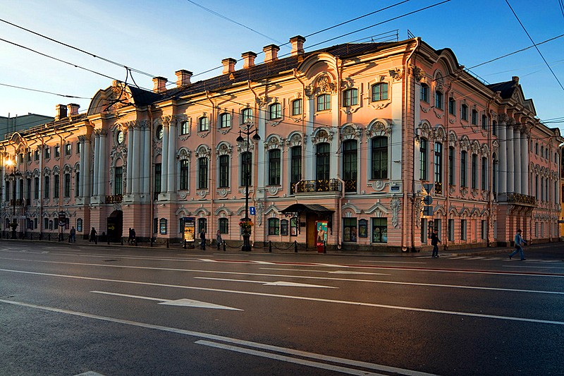 Stroganov Palace at the corner of Nevsky Prospekt and the Moyka River in St Petersburg, Russia