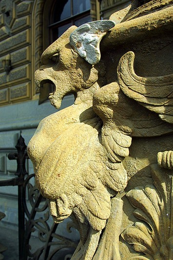 Chimera at the entrance to the palace in St Petersburg, Russia