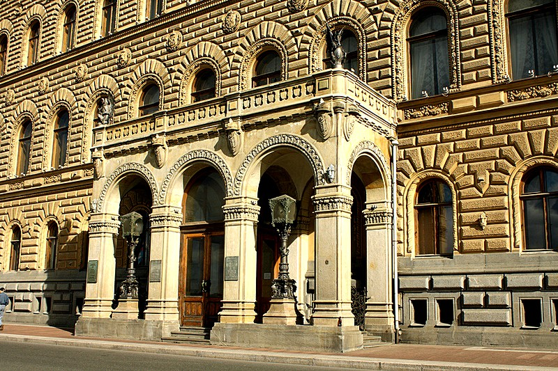 Entrance to the House of Scientists (Dom Uchenykh) in St Petersburg, Russia