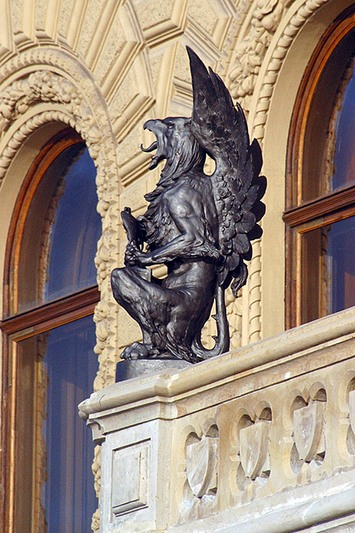 Sculptures of mythological figures on the porch of the Palace of Grand Duke Vladimir Alexandrovich in St Petersburg, Russia