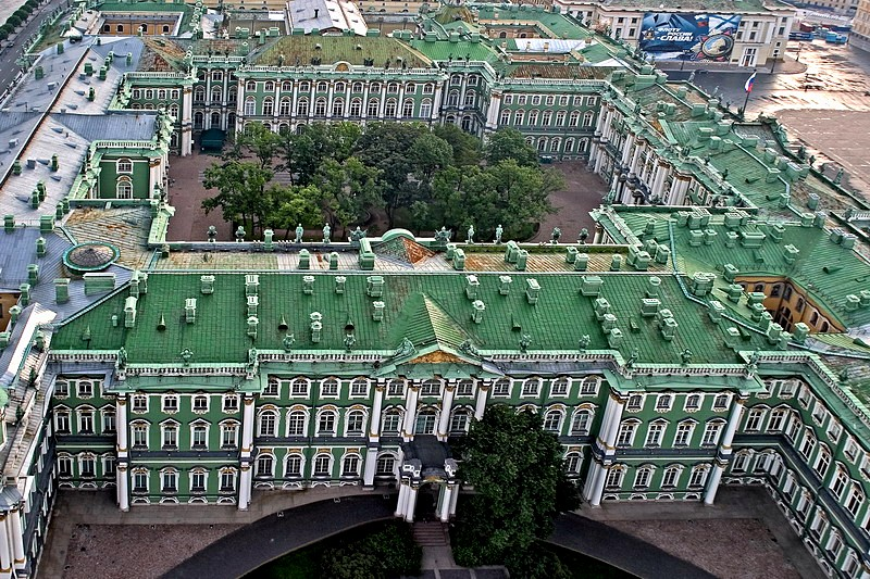 Bird's-eye view of the Winter Palace - the main building of Hermitage Museum in St Petersburg, Russia