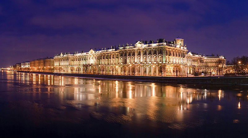 Winter Palace in St Petersburg, Russia at night