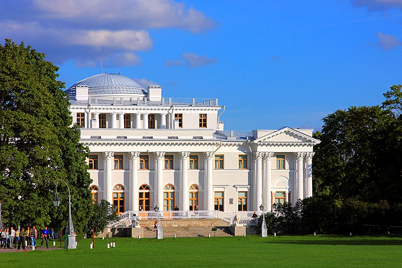 Western facade of Yelagin Palace in St Petersburg, Russia