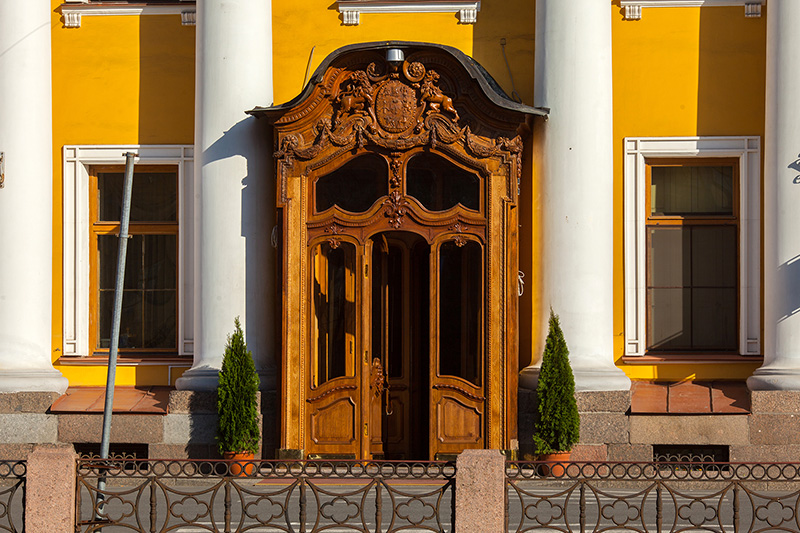 Carved oak door of the Yusupov Palace in St Petersburg, Russia