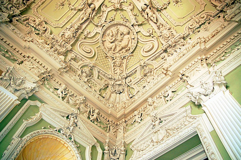 Ceiling molding in one of the halls of the Yusupov Palace in St Petersburg, Russia
