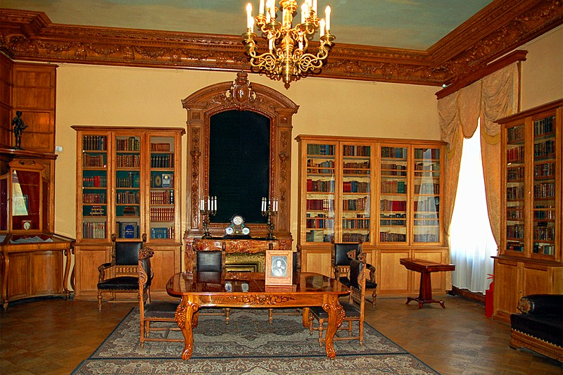 Study and library at the Yusupov Palace in St Petersburg, Russia