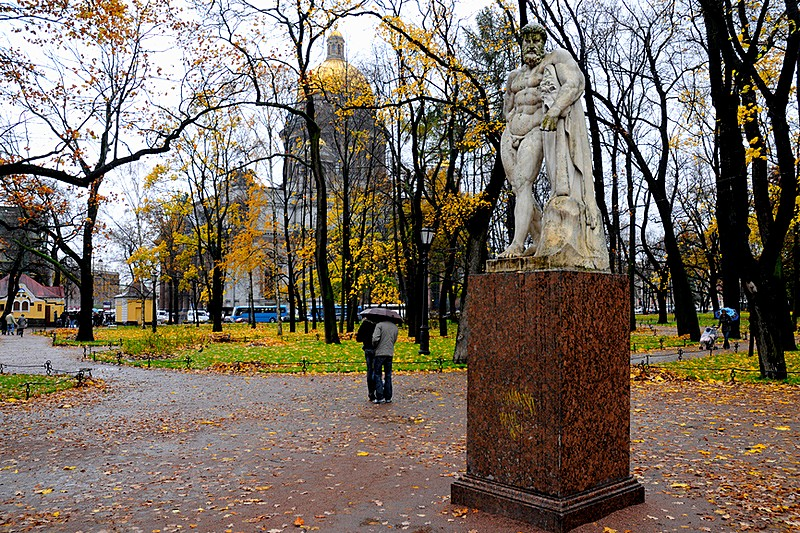 Autumn in Alexandrovsky (Alexander) Garden in St Petersburg, Russia
