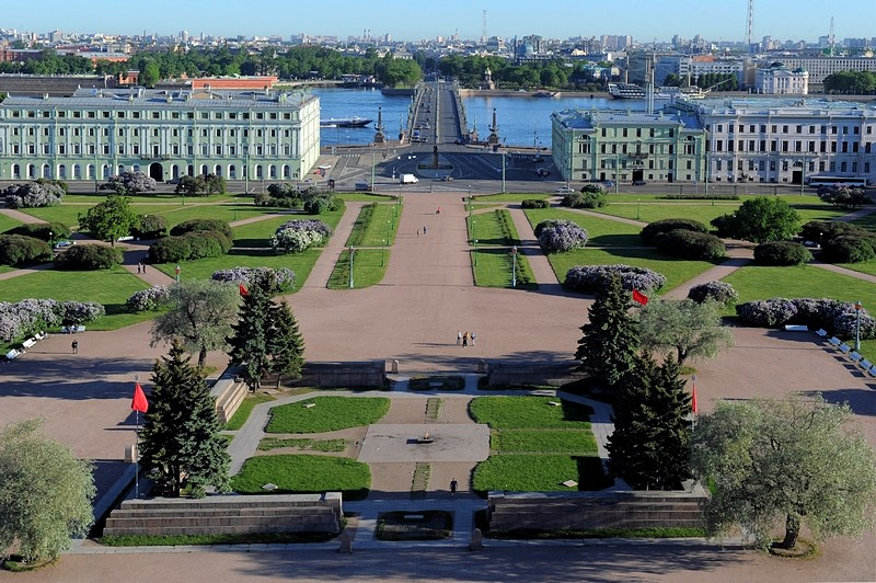 View of the Field of Mars, Suvorov Square and Trinity Bridge in St Petersburg, Russia