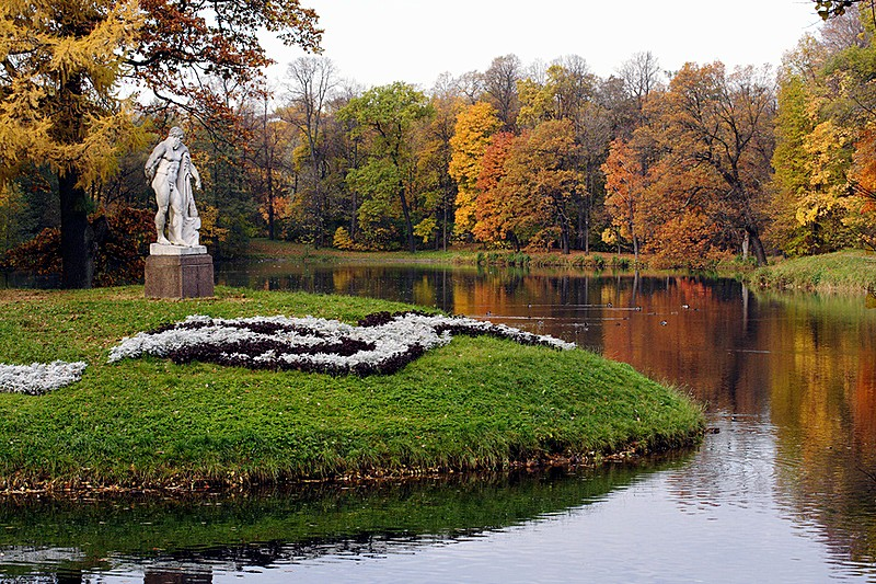 Autumn scene on Yelagin Island in St Petersburg, Russia