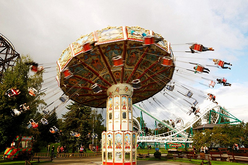 Amusement park at Primorskiy (Maritime) Victory Park in St Petersburg, Russia