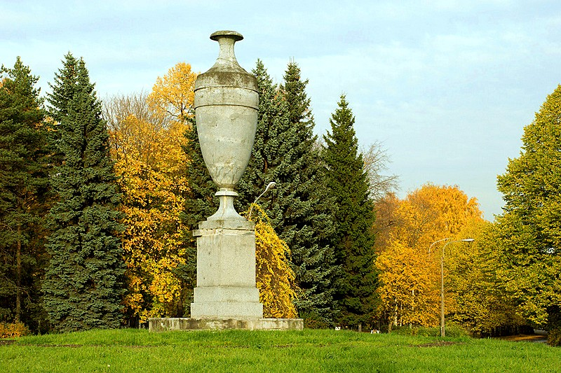 Elegant stone vase on the main alley of Primorskiy Victory Park in St Petersburg, Russia