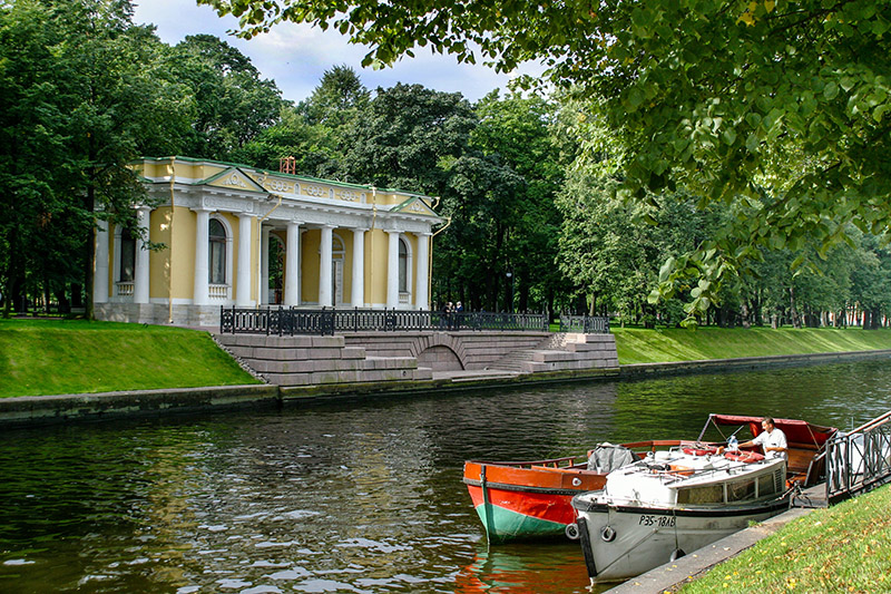 Mikhailovsky Garden and the Moyka River in St Petersburg, Russia