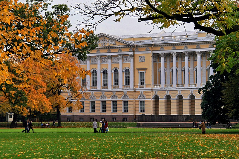 Russian Museum seen from Mikhailovsky Garden in St Petersburg, Russia