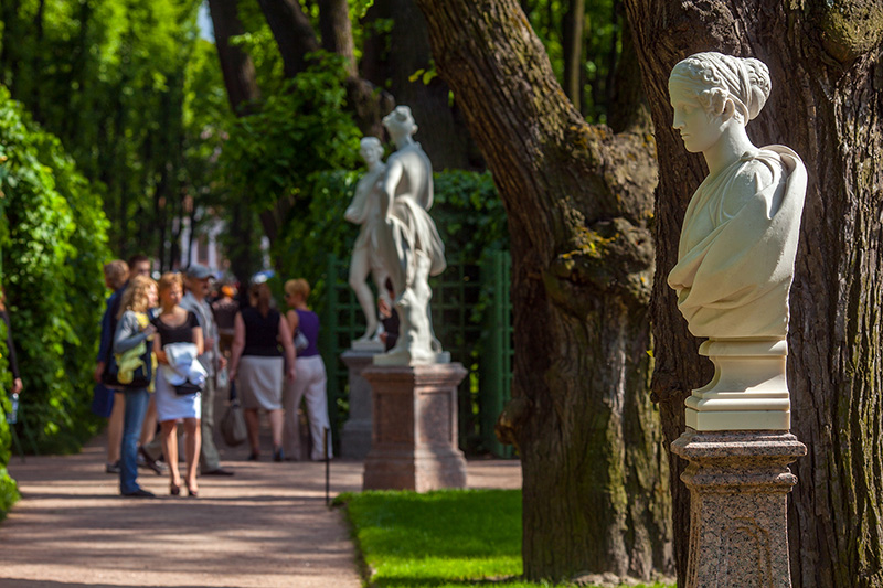 Sculptures Of The Summer Garden In Saint Petersburg, Russia