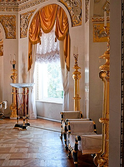 Neoclassical interiors of the Grand Palace in Pavlovsk royal estate, south of St Petersburg, Russia
