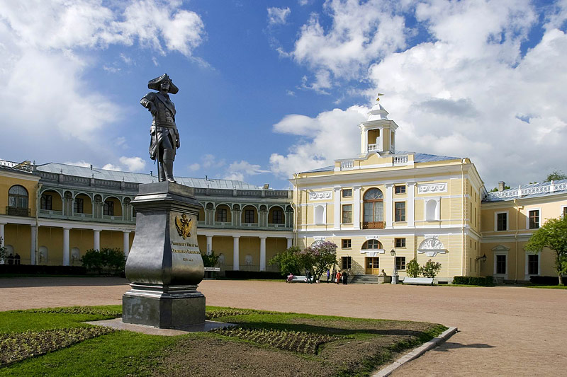 Open courtyard of the Grand Palace in Pavlovsk royal estate, south of St Petersburg, Russia