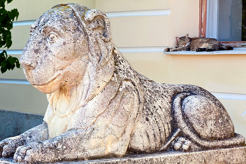Stone lion at the entrance to the Grand Palace in Pavlovsk royal estate, south of St Petersburg, Russia