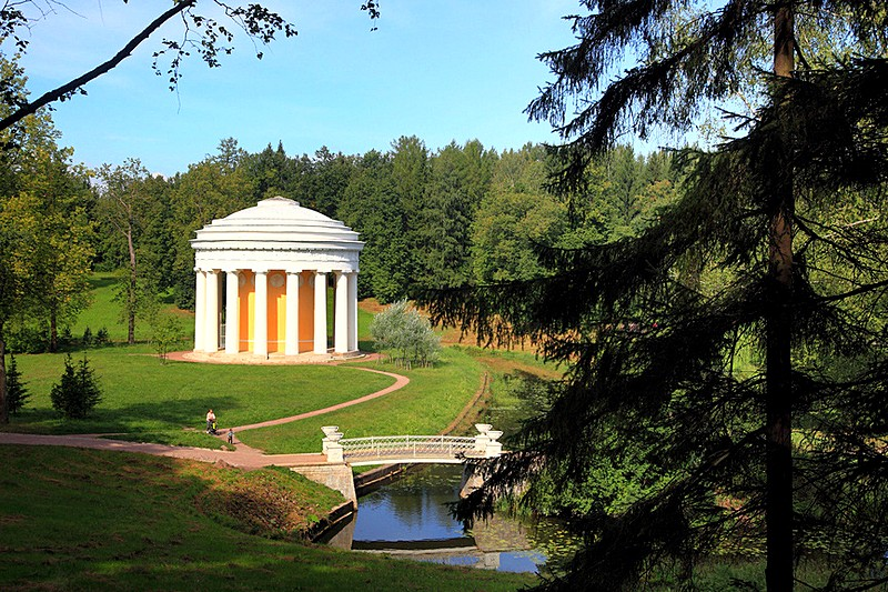 Temple of Friendship pavilion in Pavlovsk Park in Pavlovsk royal estate, south of St Petersburg, Russia