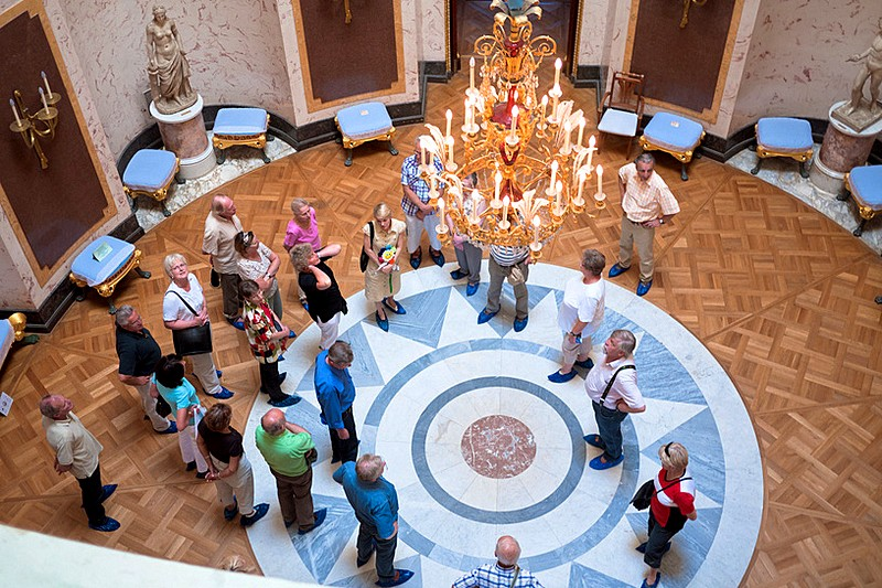 Tour of Grand Palace interiors in Pavlovsk royal estate, south of St Petersburg, Russia
