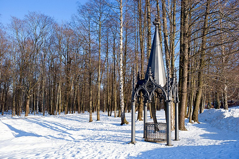 Gothic Well in Alexandria Park in Peterhof, western suburb of Saint-Petersburg, Russia