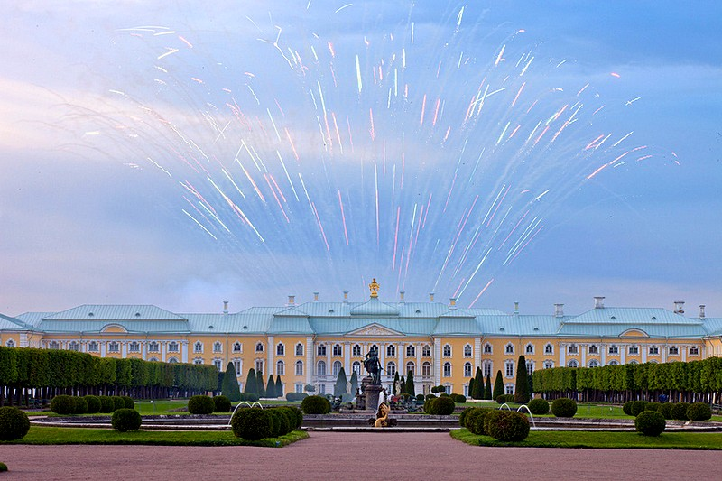 Fireworks over the Grand Palace in Peterhof, west of Saint-Petersburg, Russia