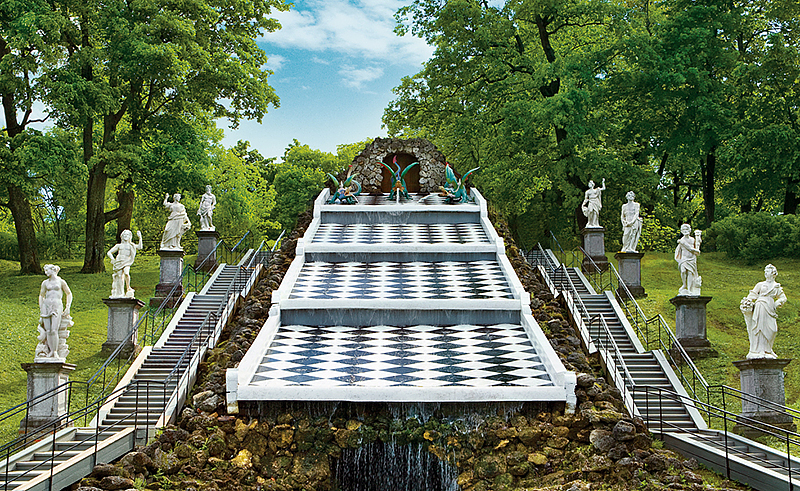 Chess Hill or Dragon Hill Cascade in Peterhof, outside St Petersburg, Russia