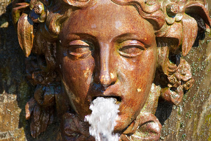 Masque – detail of a fountain in Peterhof near St Petersburg, Russia