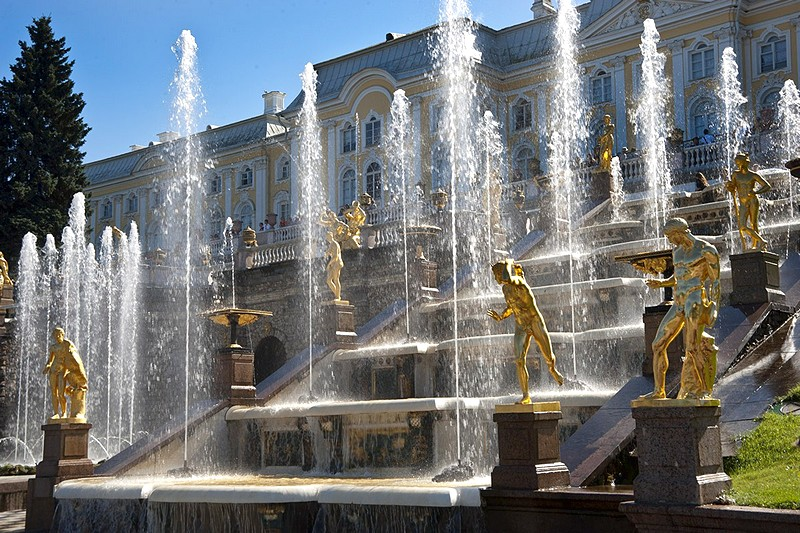 Grand Cascade in Peterhof near Saint-Petersburg, Russia