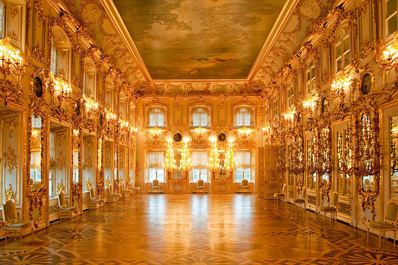 Ballroom at the Grand Palace in Peterhof, west of Saint-Petersburg, Russia