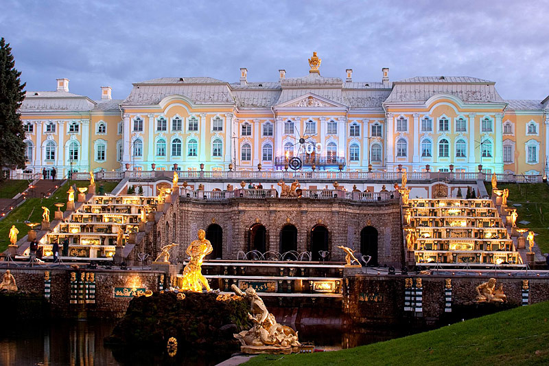 Grand Palace in Peterhof, west of Saint-Petersburg, Russia