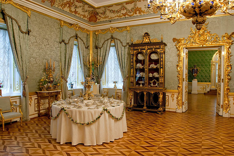 Partridge Sitting Room at the Grand Palace in Peterhof, west of Saint-Petersburg, Russia