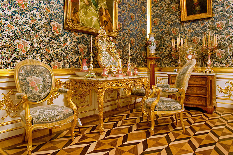 Sofa Room at the Grand Palace in Peterhof, west of Saint-Petersburg, Russia