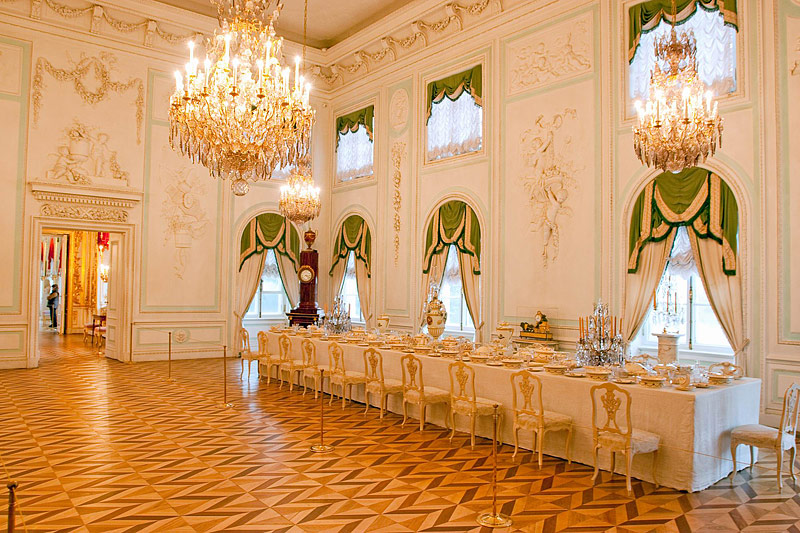 White Dining Room at the Grand Palace in Peterhof, west of Saint-Petersburg, Russia