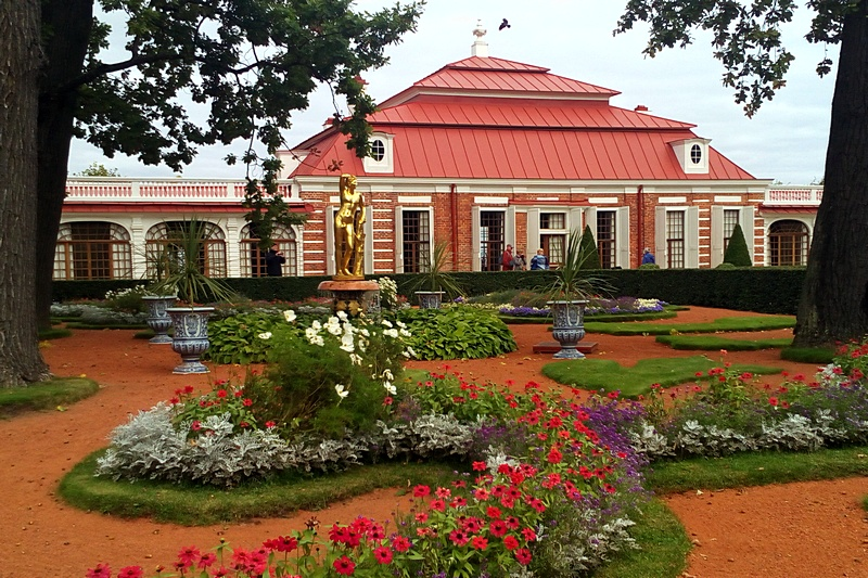 Monplaisir Palace and Garden in Peterhof, west of St. Petersburg, Russia