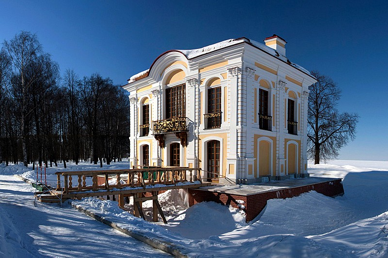 Winter view of the Hermitage Pavilion in the Lower Park of Peterhof, west of St. Petersburg, Russia
