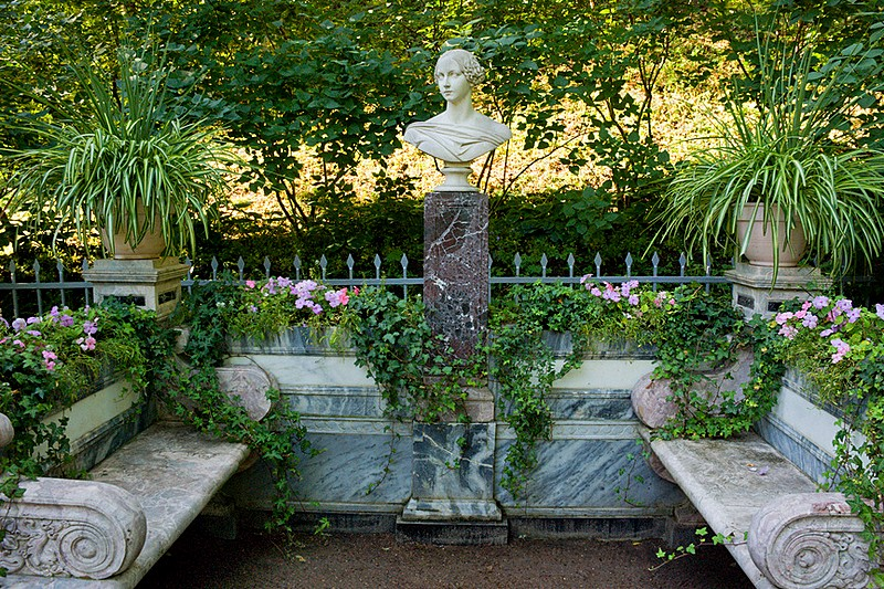 Memorial bench of Grand Duchess Alexandra Nikolaevna in Peterhof, west of St. Petersburg, Russia