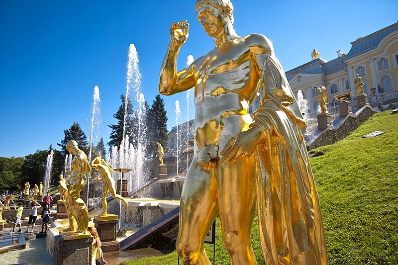 Grand Cascade in Peterhof, west of Saint-Petersburg, Russia