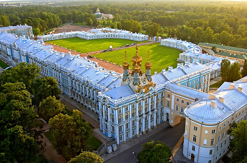Aerial view of Catherine Palace in Tsarskoye Selo (Pushkin), south of St Petersburg, Russia