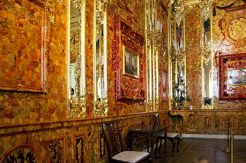 Amber Room At Catherine Palace In Tsarskoye Selo (Pushkin), South Of St  Petersburg