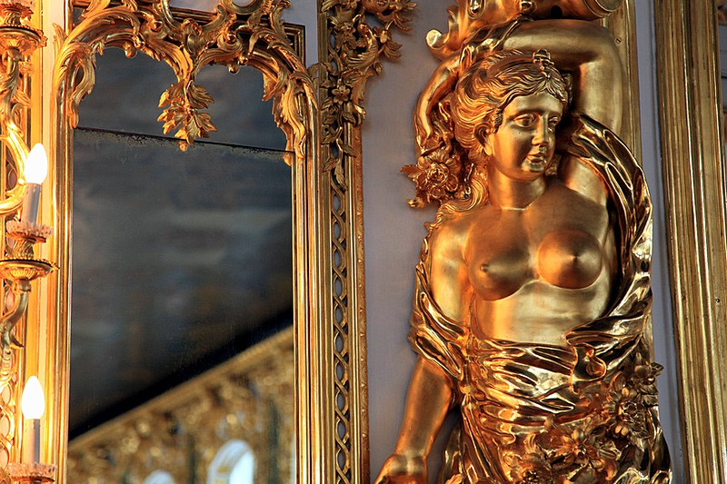 Detail of Grand Hall decorations at Catherine Palace in Tsarskoye Selo (Pushkin), south of St Petersburg, Russia